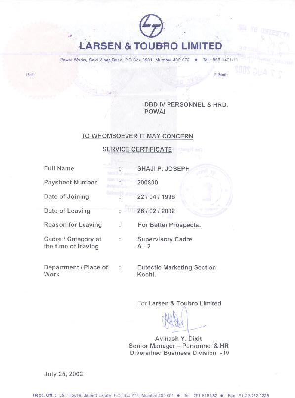 Curriculum Vitae Of Shaji P Joseph